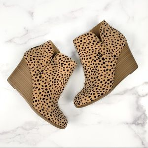 Soda Cheetah Print Wedge Ankle Boots